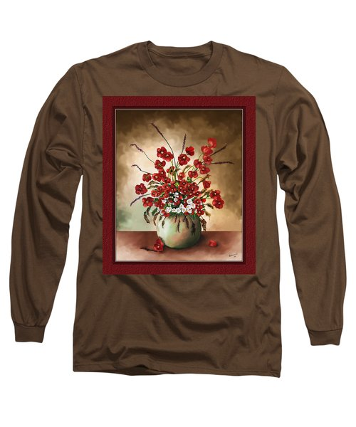 Long Sleeve T-Shirt featuring the digital art Red Poppies by Susan Kinney