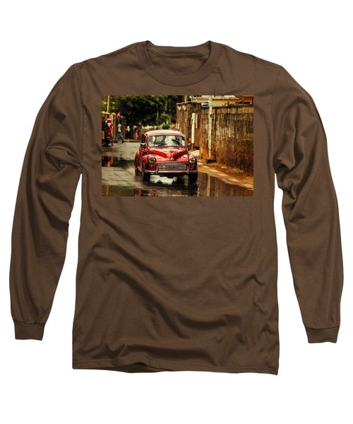 Red Retromobile. Morris Minor Long Sleeve T-Shirt by Jenny Rainbow