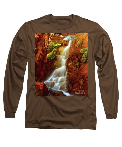 Long Sleeve T-Shirt featuring the painting Red River Falls by Peter Piatt