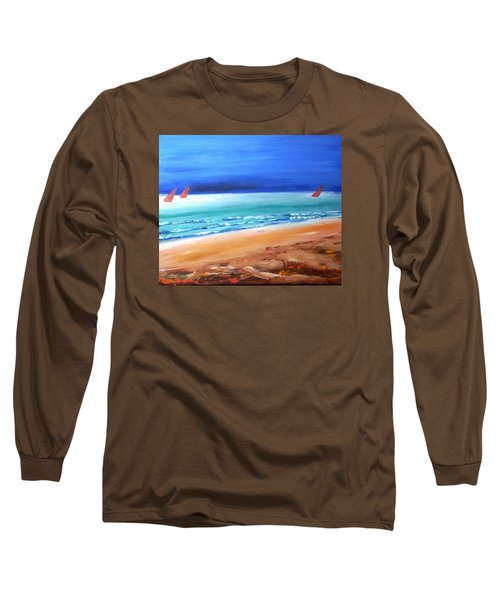 Long Sleeve T-Shirt featuring the painting Red Sails by Winsome Gunning