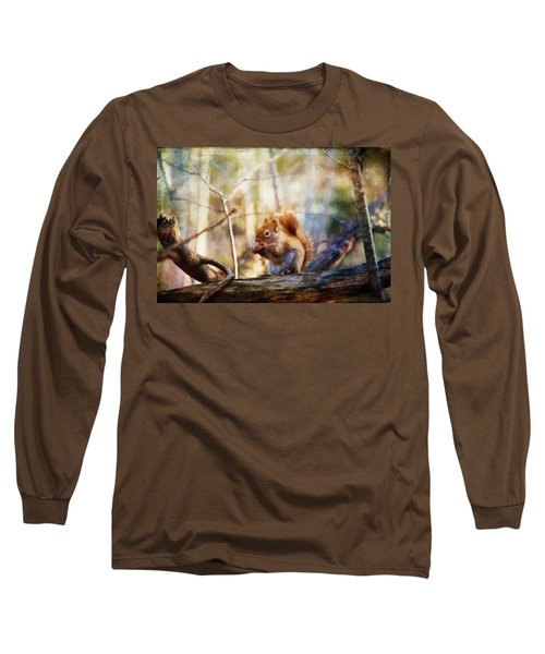 Red Squirrel With Pinecone Long Sleeve T-Shirt