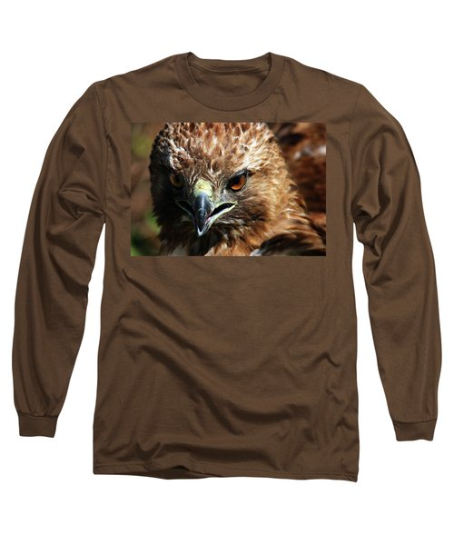 Long Sleeve T-Shirt featuring the photograph Red-tail Hawk Portrait by Anthony Jones