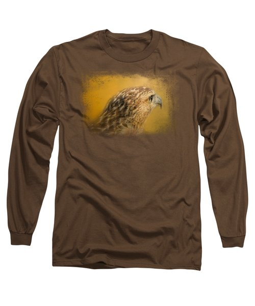 Red Tailed Hawk At Sunset Long Sleeve T-Shirt