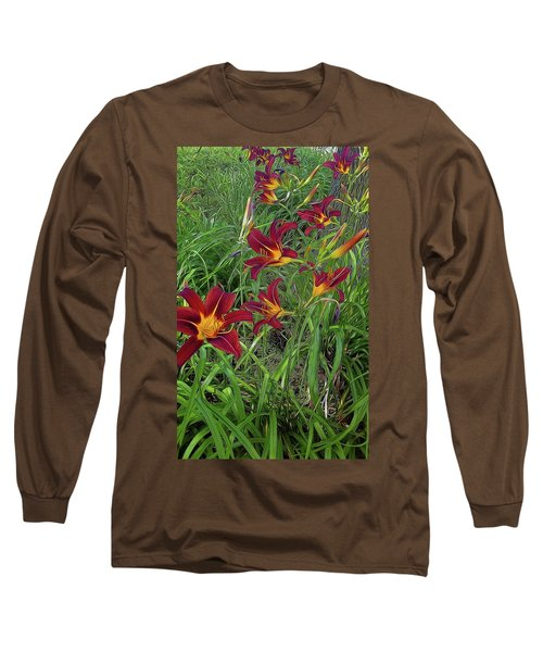 Red Tigerlily Garden Long Sleeve T-Shirt