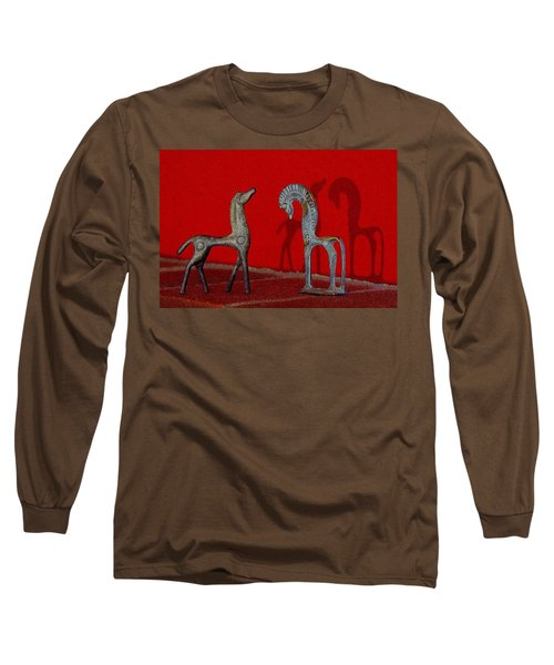 Red Wall Horse Statues Long Sleeve T-Shirt by Jana Russon