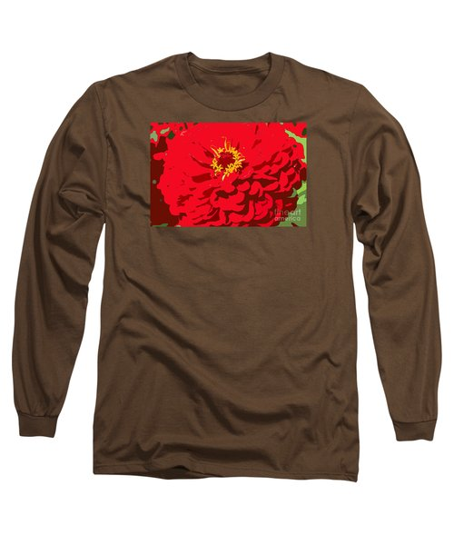 Long Sleeve T-Shirt featuring the photograph Red Zinnia by Jeanette French