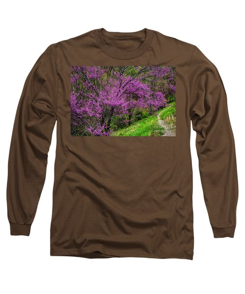 Long Sleeve T-Shirt featuring the photograph Redbud And Path by Thomas R Fletcher