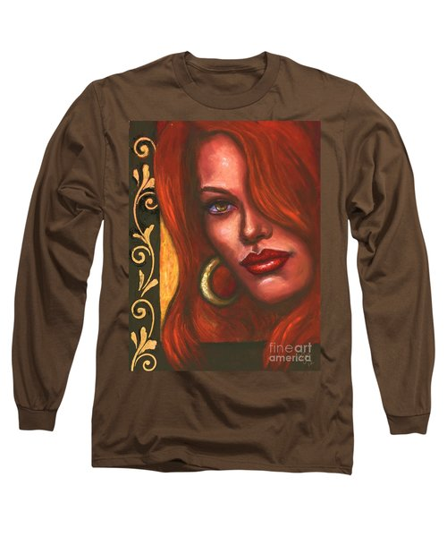 Long Sleeve T-Shirt featuring the painting Redhead by Alga Washington