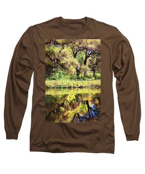 Long Sleeve T-Shirt featuring the photograph Reflective Live Oaks by Donna Bentley