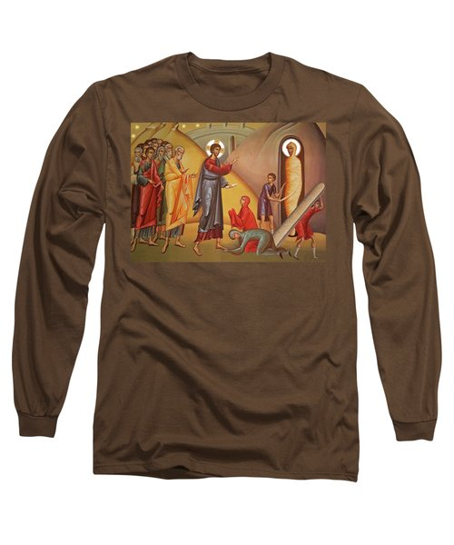 Long Sleeve T-Shirt featuring the painting Resurrection Of Lazarus by Munir Alawi