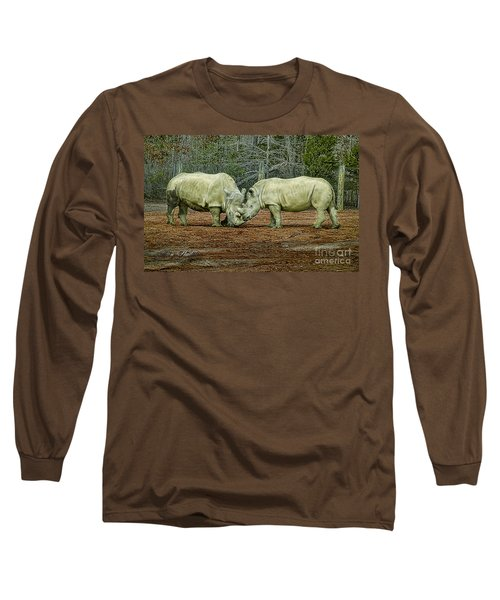 Rhinos In Love Long Sleeve T-Shirt by Melissa Messick