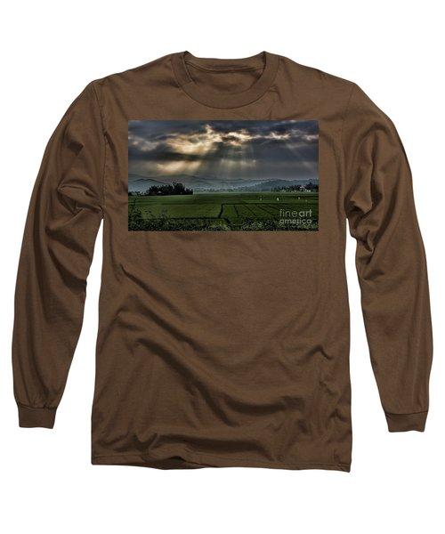 Rice Fields Rays Light  Long Sleeve T-Shirt by Chuck Kuhn