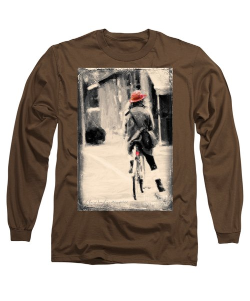 Riding My Bicycle In A Red Hat Long Sleeve T-Shirt