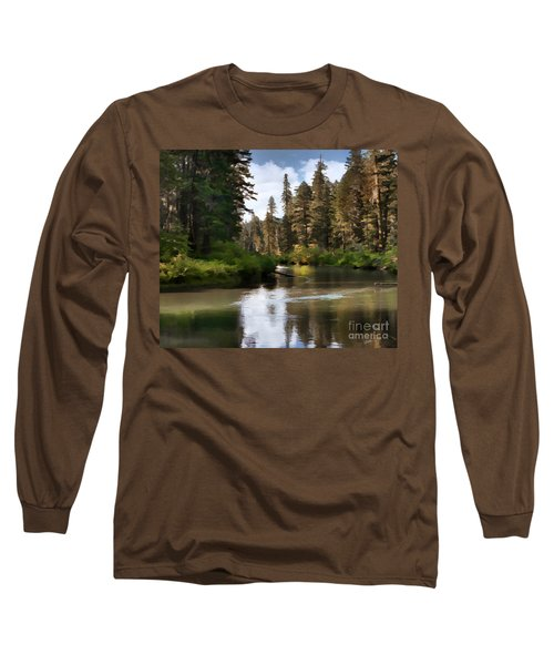 Long Sleeve T-Shirt featuring the painting Millers Creek Painterly by Peter Piatt