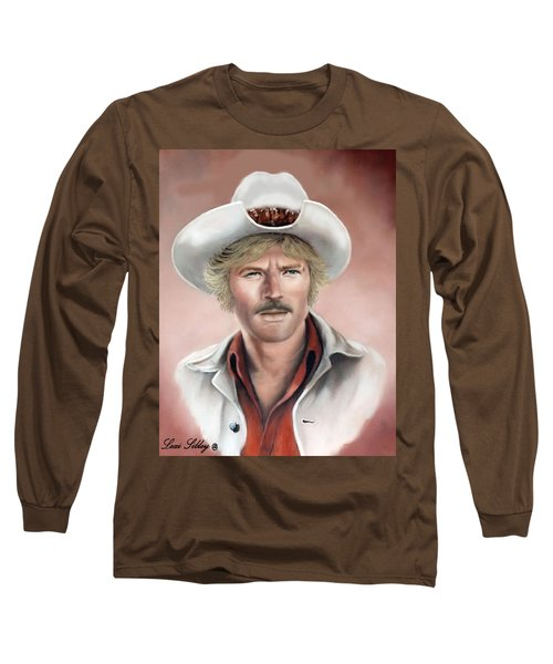 Long Sleeve T-Shirt featuring the painting Robert Redford by Loxi Sibley