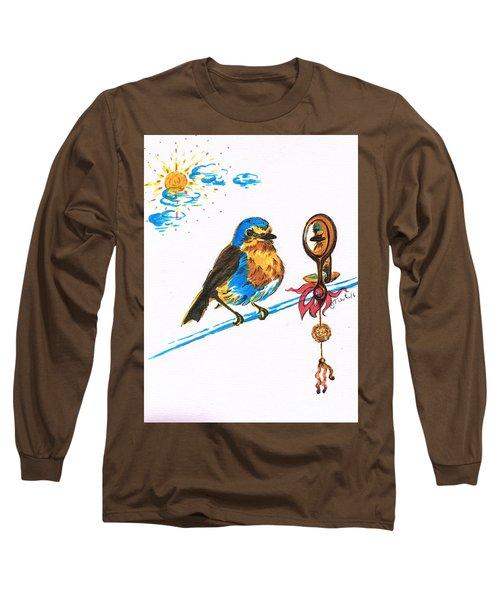 Robins Day Tasks Long Sleeve T-Shirt by Teresa White