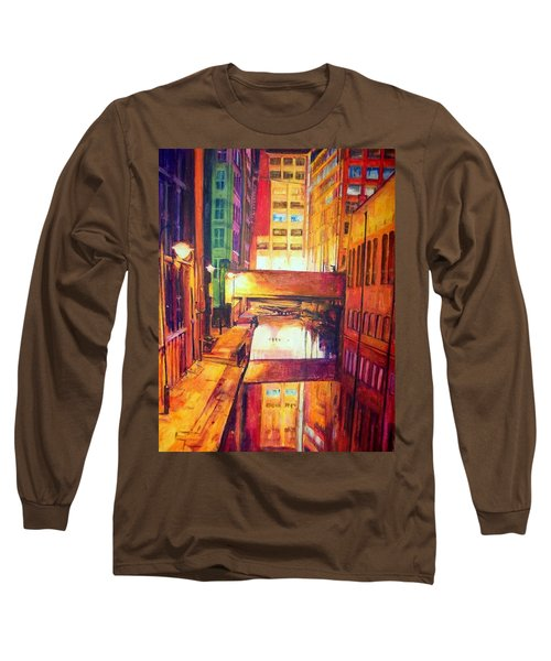 Rochdale Canal With Lock At Night Long Sleeve T-Shirt
