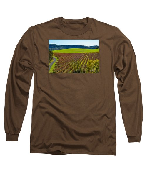 Rolling Hills And Vineyards Long Sleeve T-Shirt by CML Brown