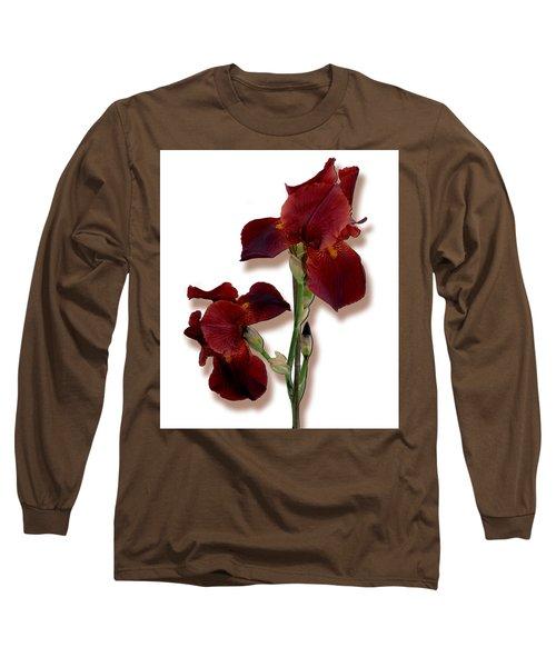 Root Beer Irises Long Sleeve T-Shirt by Tara Hutton