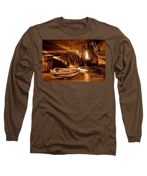 Rope And Tools In A Barn - Sepia Long Sleeve T-Shirt