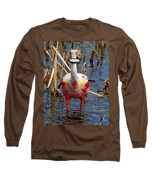Roseate Spoonbill And Water Drops Long Sleeve T-Shirt