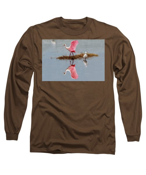 Roseate Spoonbill Stretching Wings Long Sleeve T-Shirt