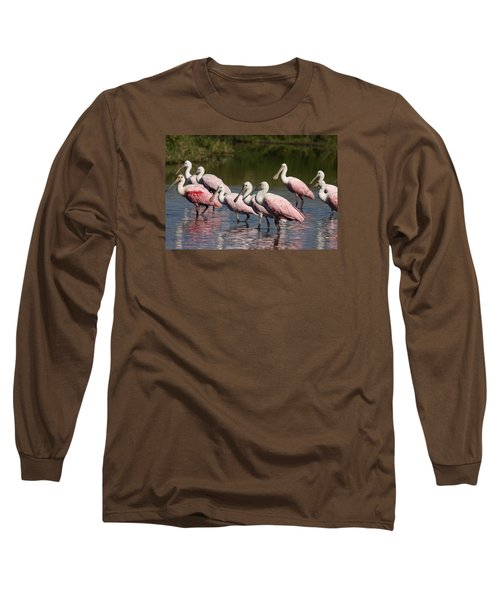 Roseate Spoonbills Long Sleeve T-Shirt by Sally Weigand