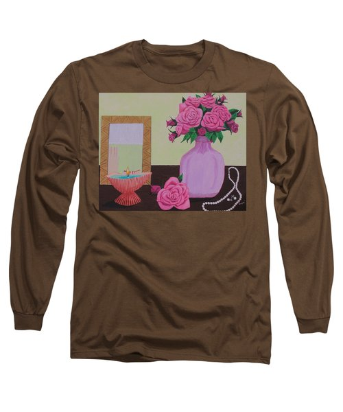 Roses And Pearls Long Sleeve T-Shirt by Hilda and Jose Garrancho
