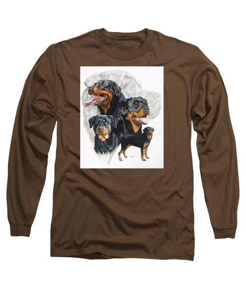 Rottweiler W/ghost  Long Sleeve T-Shirt by Barbara Keith