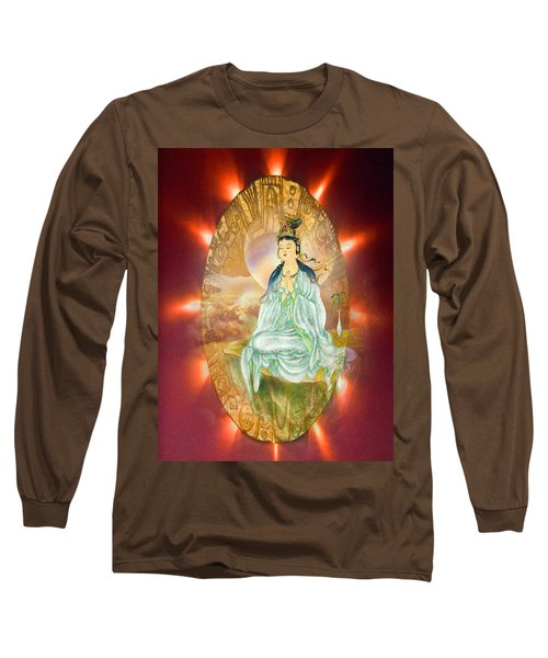 Long Sleeve T-Shirt featuring the photograph Round Halo Kuan Yin by Lanjee Chee
