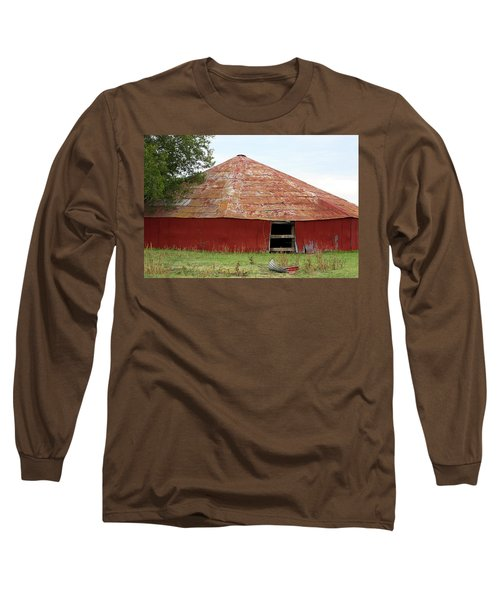 Long Sleeve T-Shirt featuring the photograph Round Red Barn by Sheila Brown