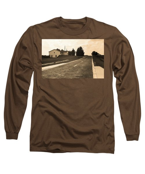 Long Sleeve T-Shirt featuring the photograph Route 66 - Brick Highway Sepia by Frank Romeo