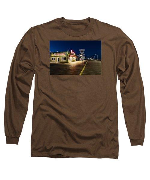 Route 66 Pier Burger Long Sleeve T-Shirt by John McGraw