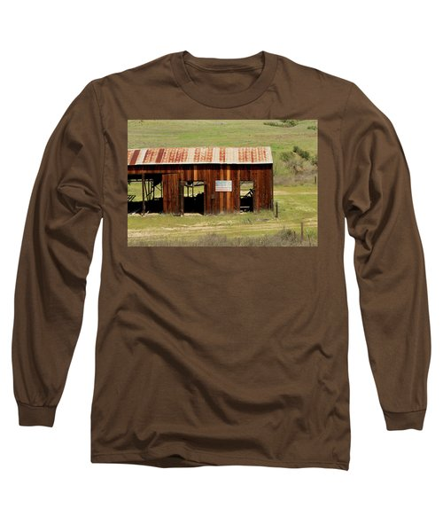 Long Sleeve T-Shirt featuring the photograph Rustic Barn With Flag by Art Block Collections