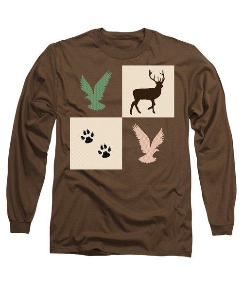 Rustic Wildlife Pattern Long Sleeve T-Shirt