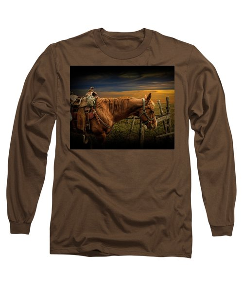 Saddle Horse On The Prairie Long Sleeve T-Shirt