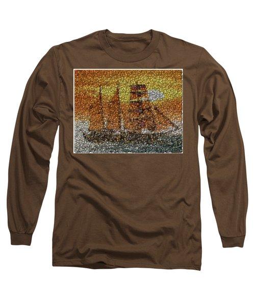 Long Sleeve T-Shirt featuring the mixed media Sail Ship Coins Mosaic by Paul Van Scott