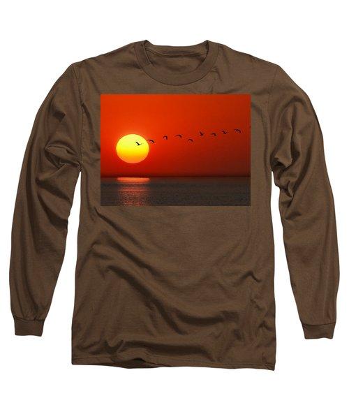Sailboat At Sunset Long Sleeve T-Shirt by Joe Bonita
