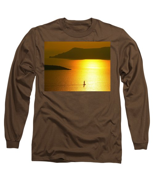 Sailing On Gold 1 Long Sleeve T-Shirt by Ana Maria Edulescu