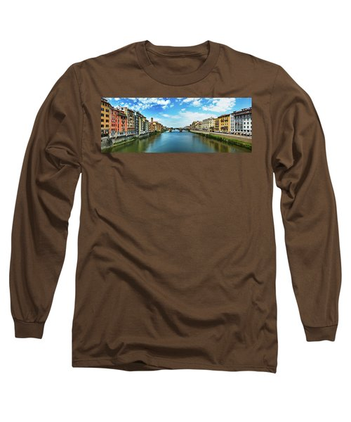 Panoramic View Of Saint Trinity Bridge From Ponte Vecchio In Florence, Italy Long Sleeve T-Shirt