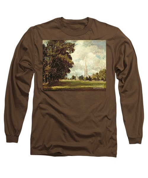 Salisbury Cathedral From Lower Marsh Close Long Sleeve T-Shirt