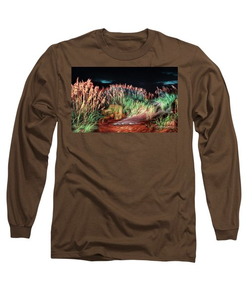 Long Sleeve T-Shirt featuring the painting Sand Dunes At Night On The Outer Banks Ap by Dan Carmichael