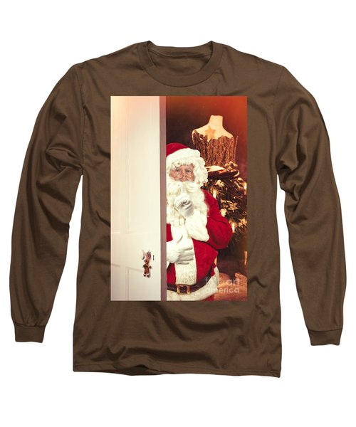Santa Claus At Open Christmas Door Long Sleeve T-Shirt