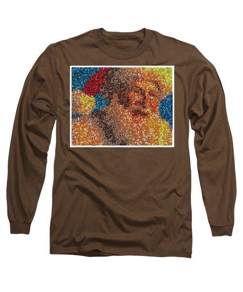 Long Sleeve T-Shirt featuring the mixed media Santa Claus Mm Candy Mosaic by Paul Van Scott