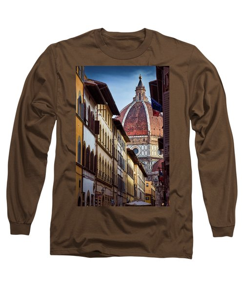 Santa Maria Del Fiore From Via Dei Servi Street In Florence, Italy Long Sleeve T-Shirt