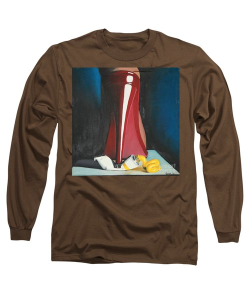 Long Sleeve T-Shirt featuring the painting Sassy Shoe by Jacqueline Athmann