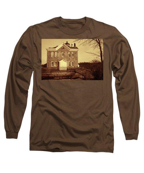 Long Sleeve T-Shirt featuring the photograph Saugerties Lighthouse Sepia by Nancy De Flon