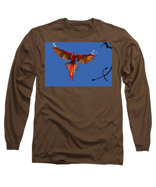 Scarlet Macaw On The Osa Peninsula Long Sleeve T-Shirt