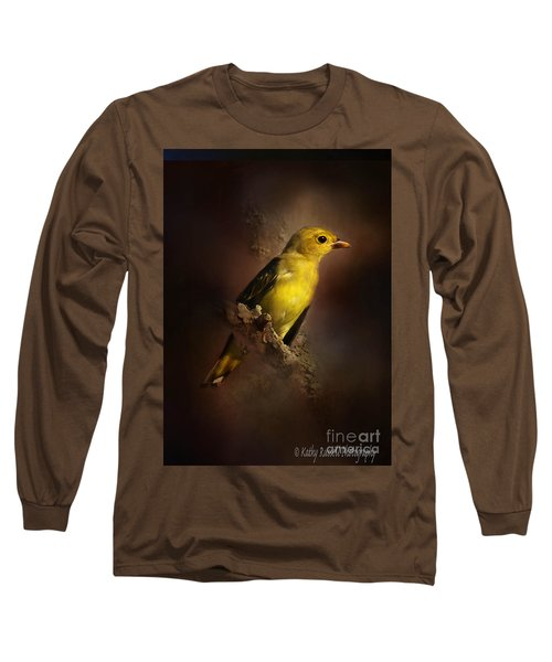 Scarlet Tanager Long Sleeve T-Shirt by Kathy Russell