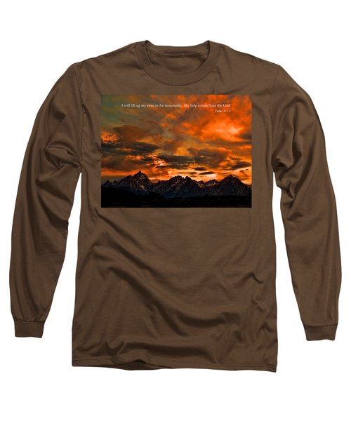 Scripture And Picture Psalm 121 1 2 Long Sleeve T-Shirt by Ken Smith